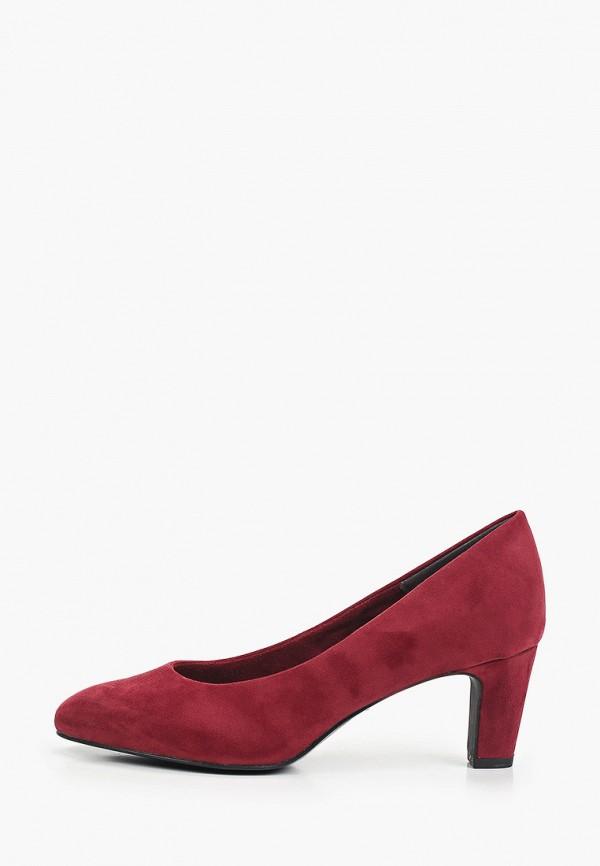 женские туфли с закрытым носом tamaris, бордовые
