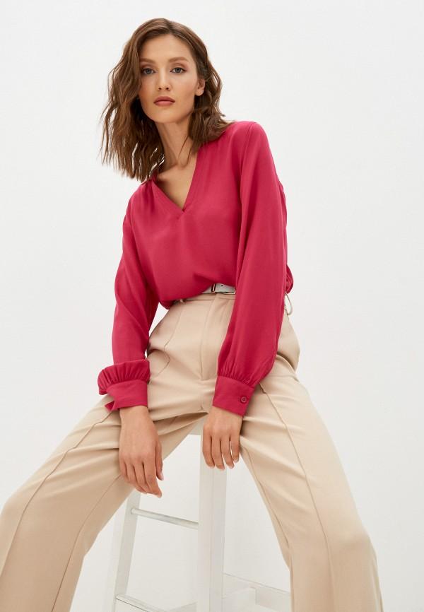 женская блузка с длинным рукавом united colors of benetton, розовая