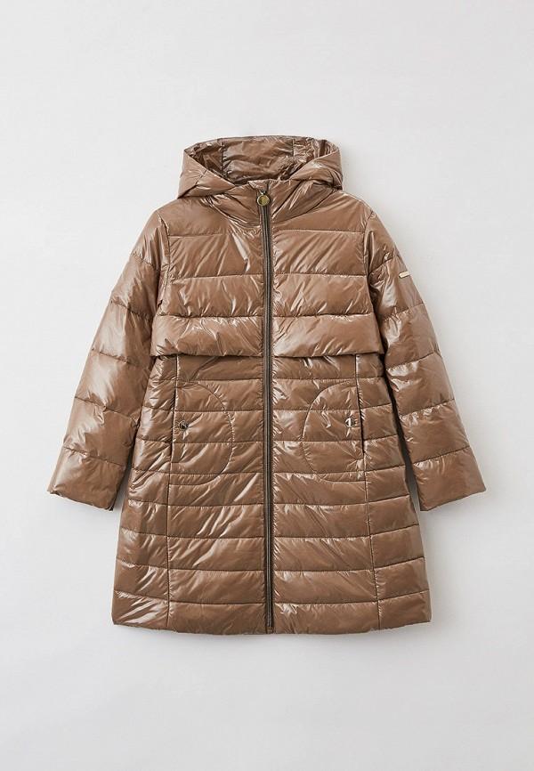 утепленные куртка silver spoon для девочки, коричневая
