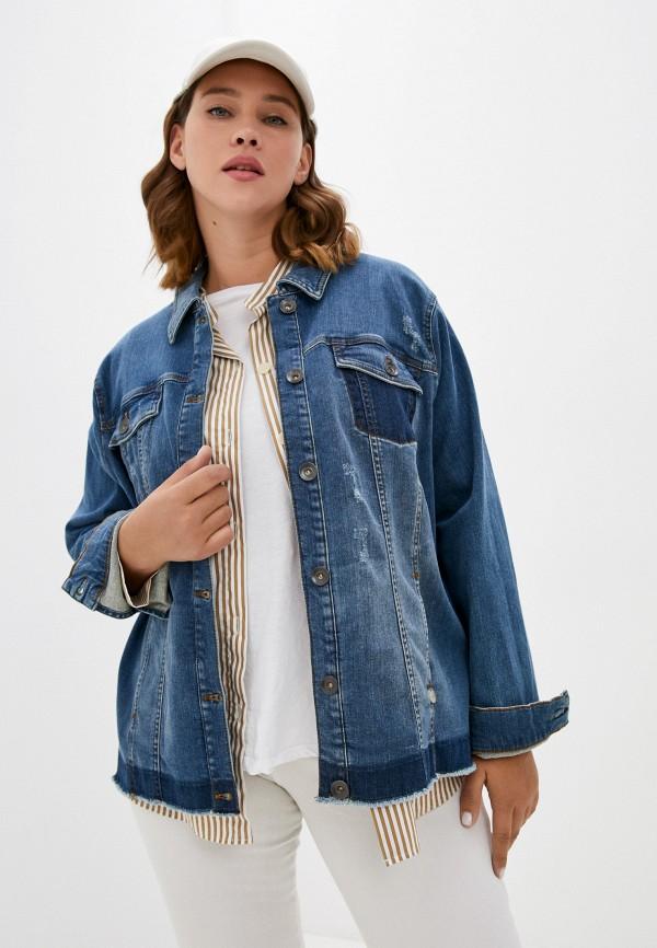 женская джинсовые куртка samoon by gerry weber, синяя
