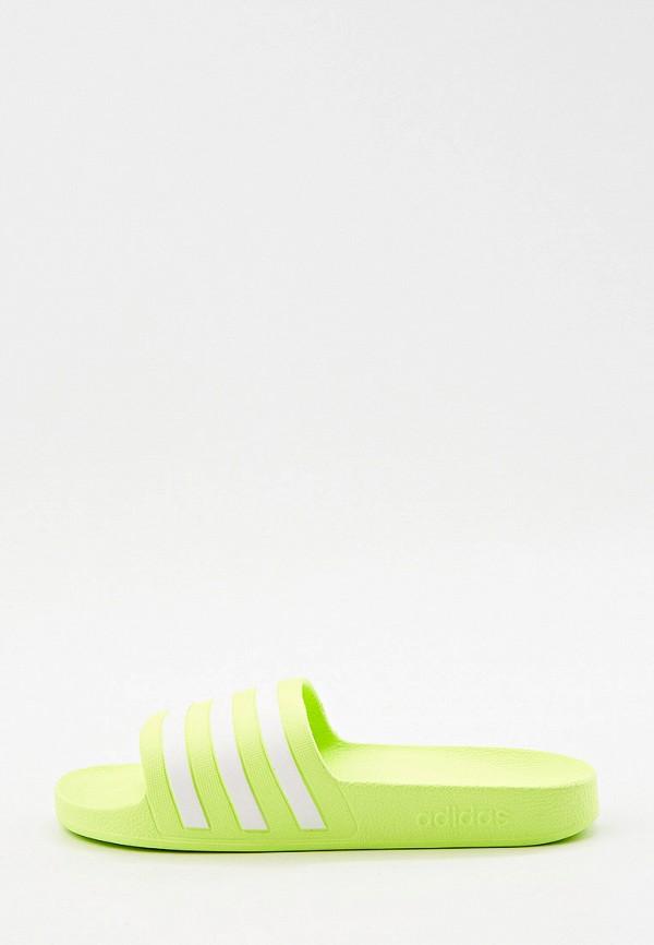 женские сланцы adidas, зеленые