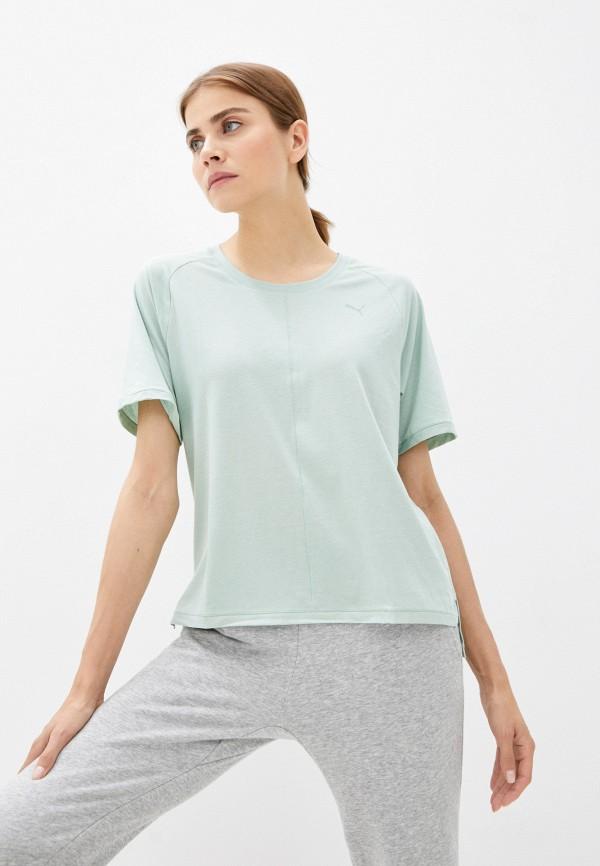 женская спортивные футболка puma, зеленая