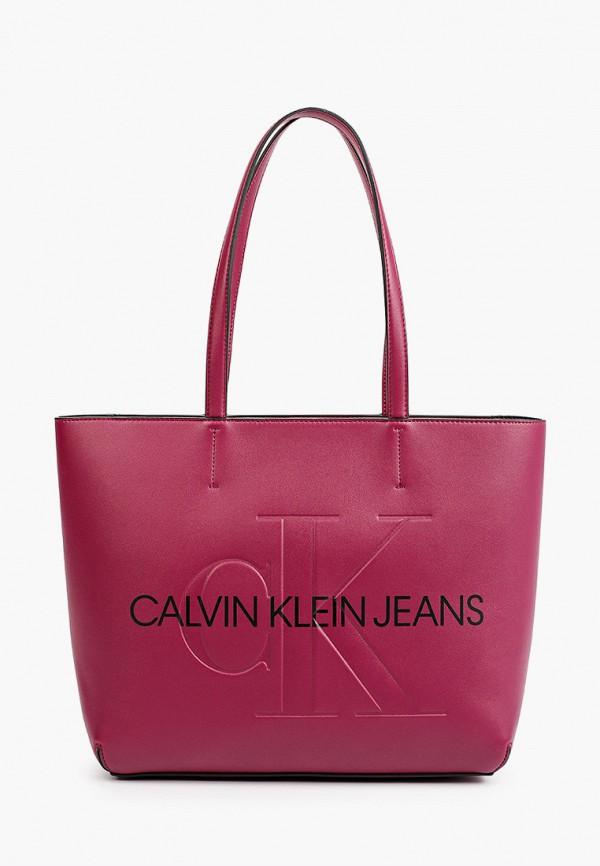 женская сумка-шоперы calvin klein, фиолетовая