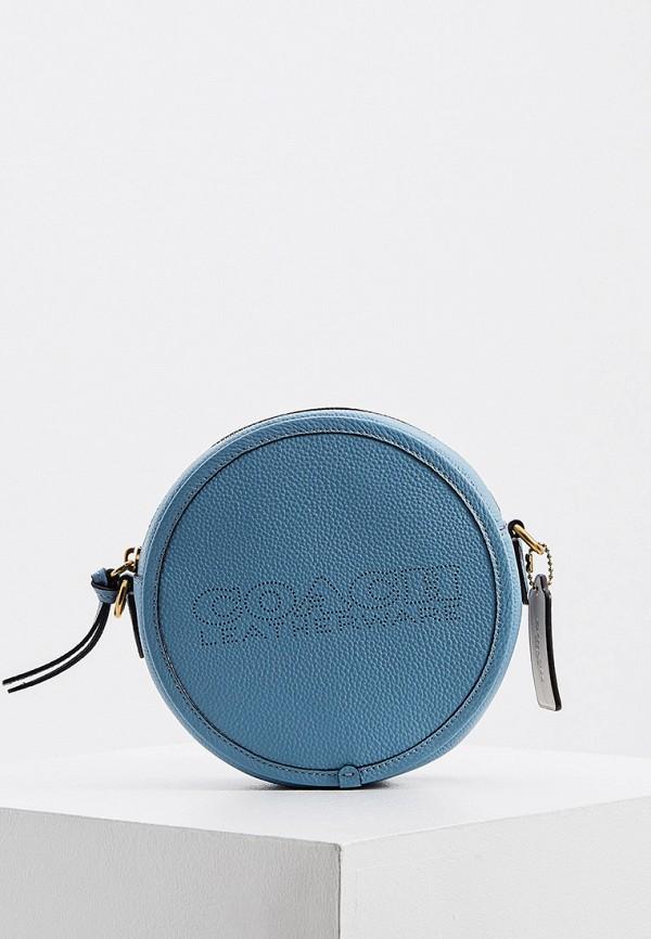 женская сумка через плечо coach, голубая