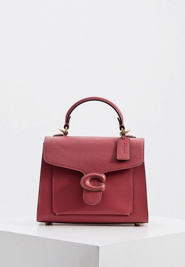 женская сумка с ручками coach, розовая