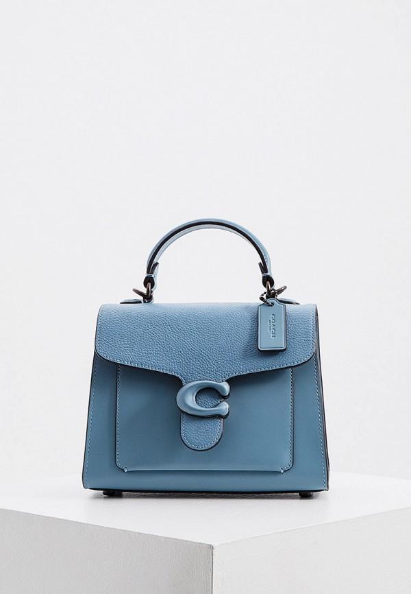 женская сумка с ручками coach, голубая