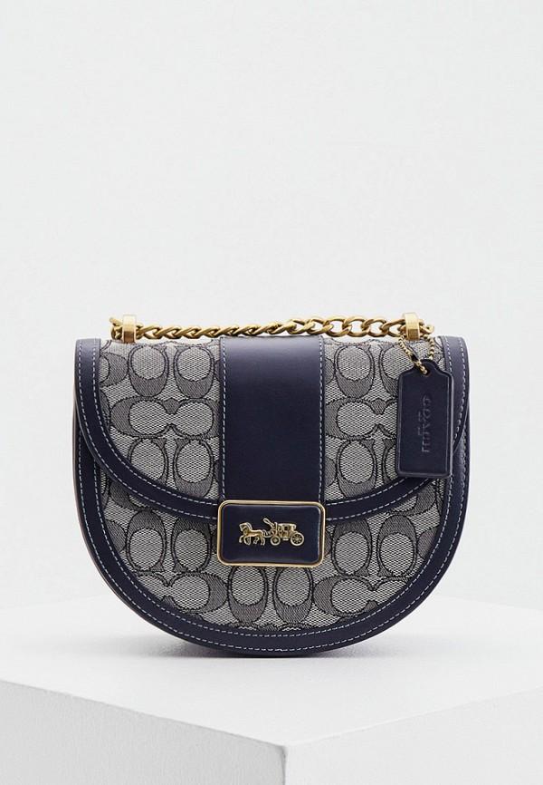 женская сумка через плечо coach, синяя
