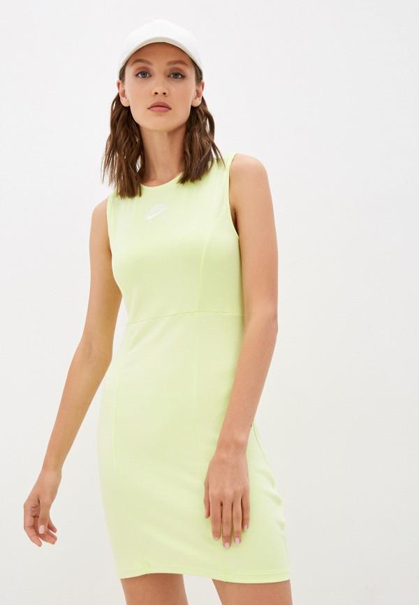 женское спортивные платье nike, зеленое