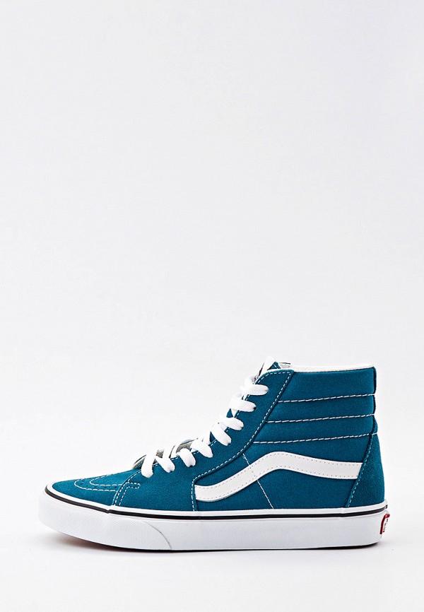 женские высокие кеды vans, синие