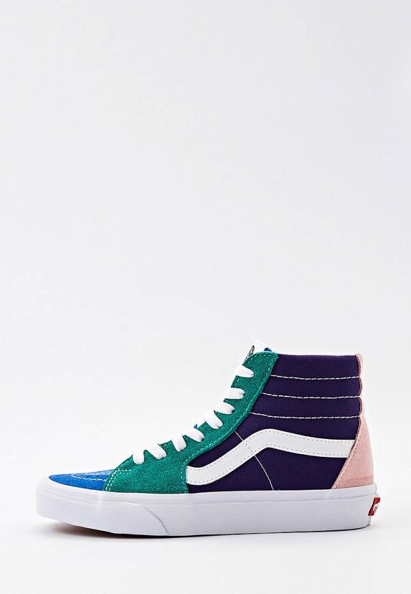 женские высокие кеды vans, разноцветные