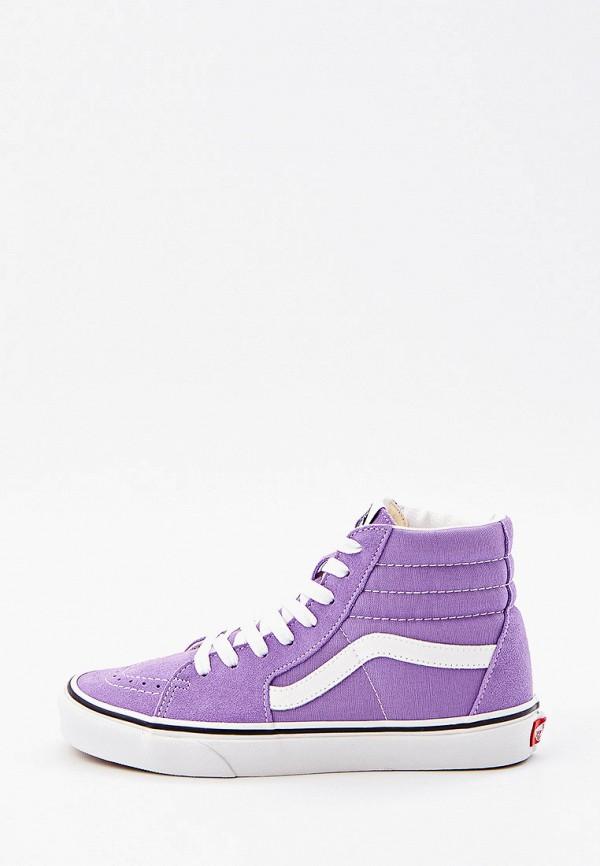 женские высокие кеды vans, фиолетовые