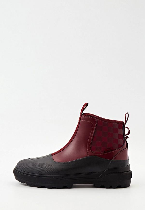 женские высокие ботинки vans, бордовые