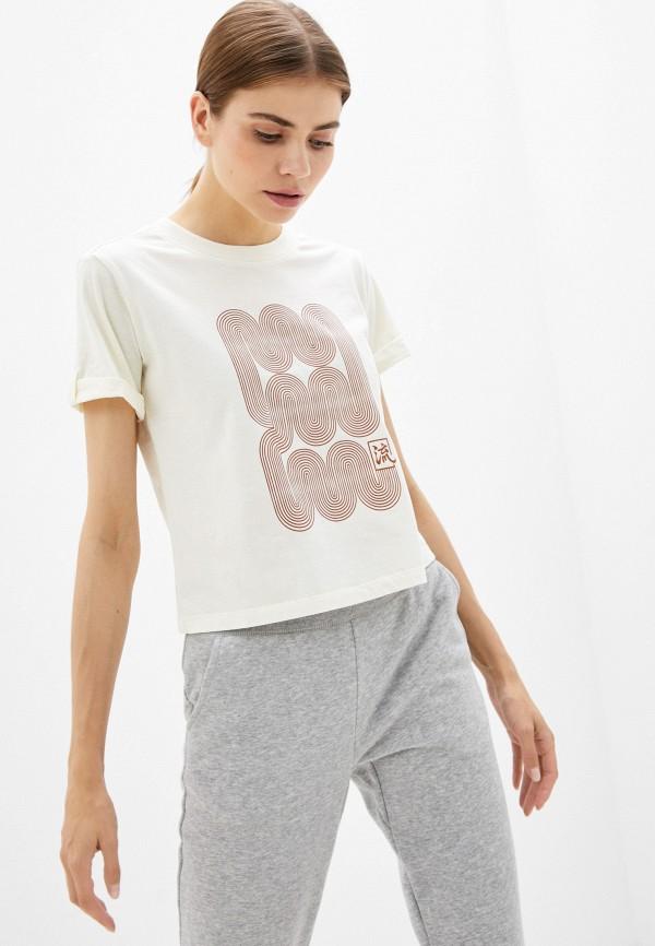 женская спортивные футболка asics, бежевая