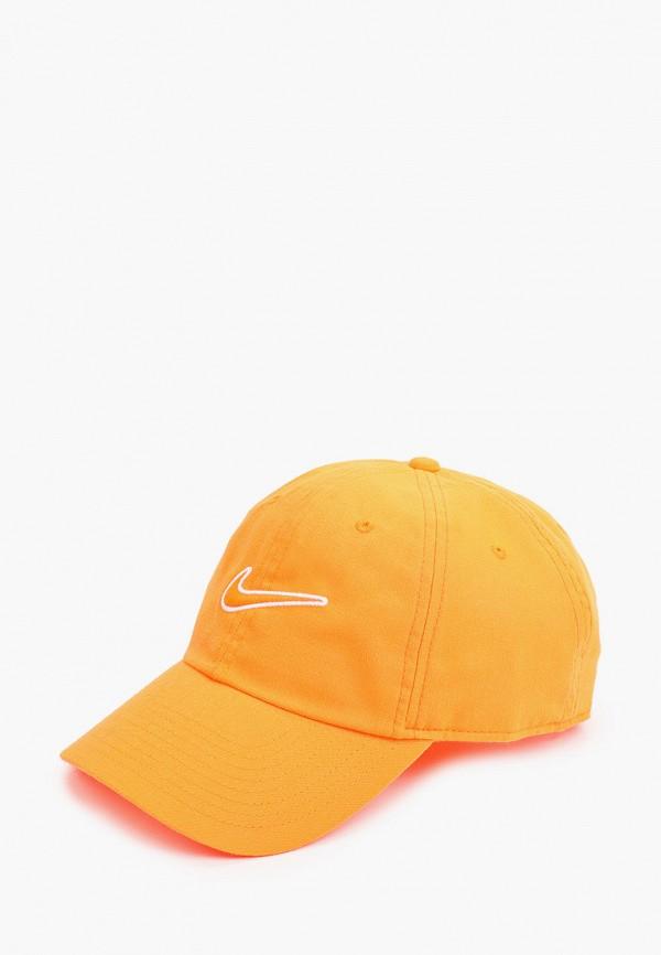 женская бейсболка nike, оранжевая