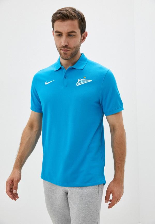 мужское поло с коротким рукавом nike, голубое