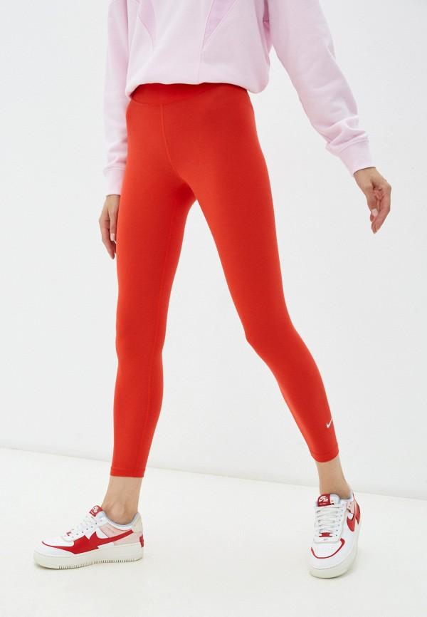 женские спортивные леггинсы nike, красные