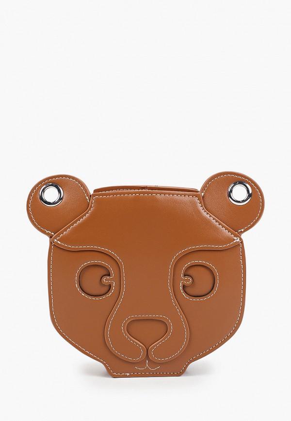 женская сумка через плечо united colors of benetton, коричневая