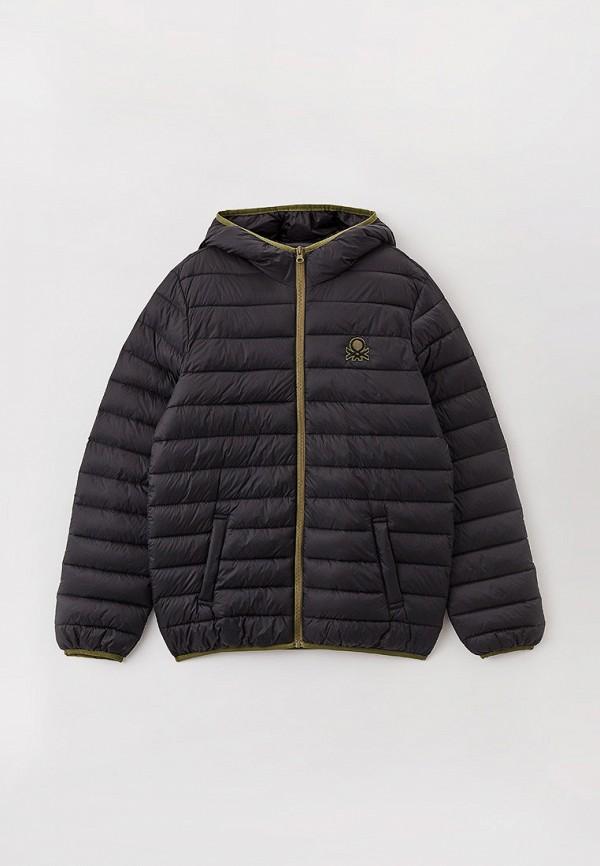 утепленные куртка united colors of benetton для мальчика, черная