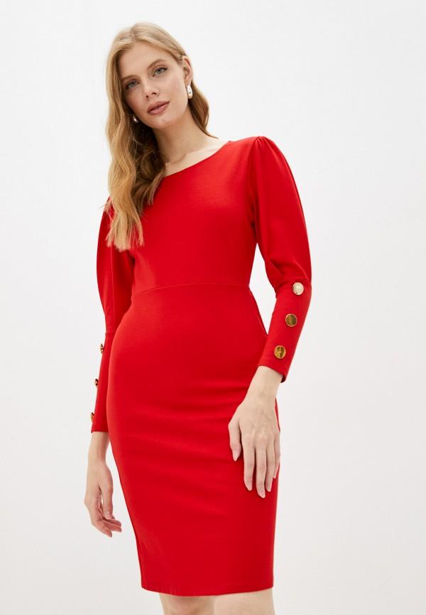 женское платье-футляр moki, красное