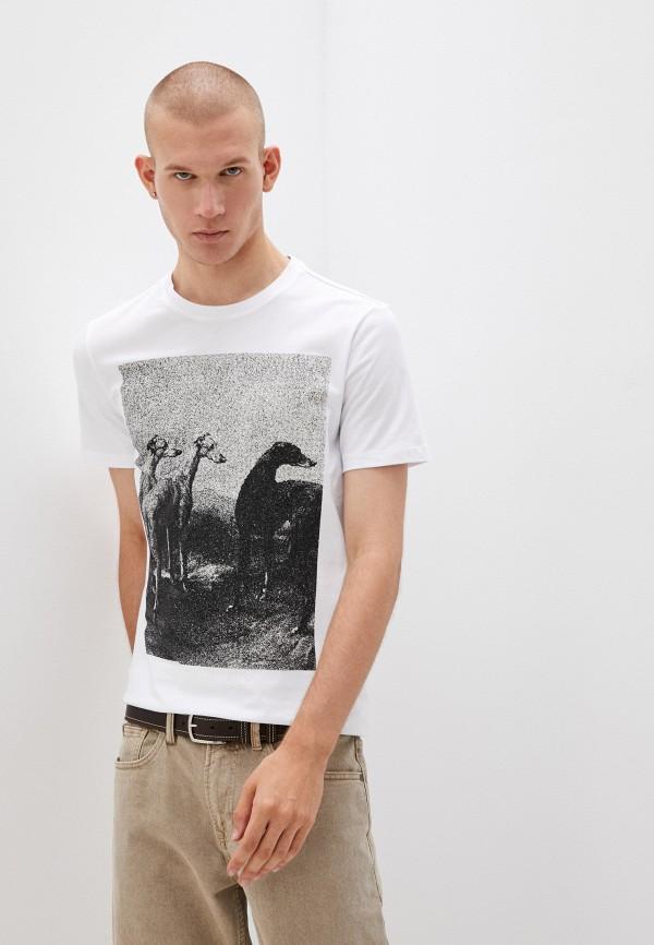мужская футболка с коротким рукавом trussardi, белая