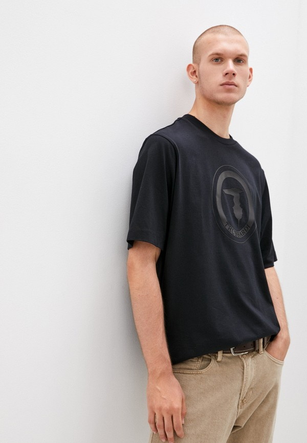 мужская футболка с коротким рукавом trussardi, черная