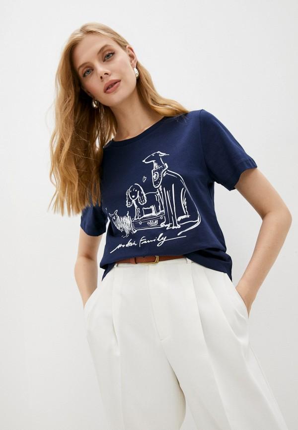 женская футболка trussardi, синяя
