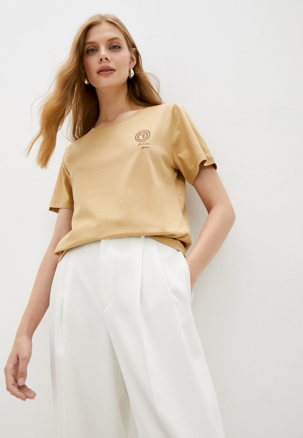 женская футболка trussardi, бежевая