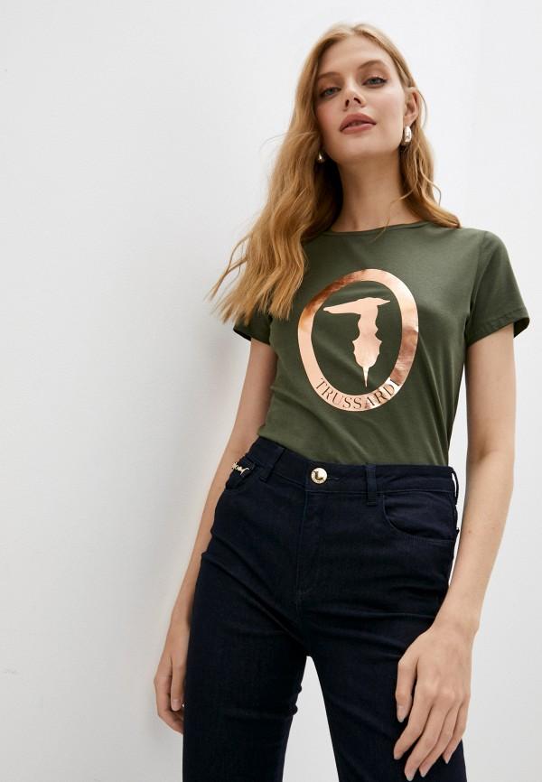 женская футболка trussardi, зеленая