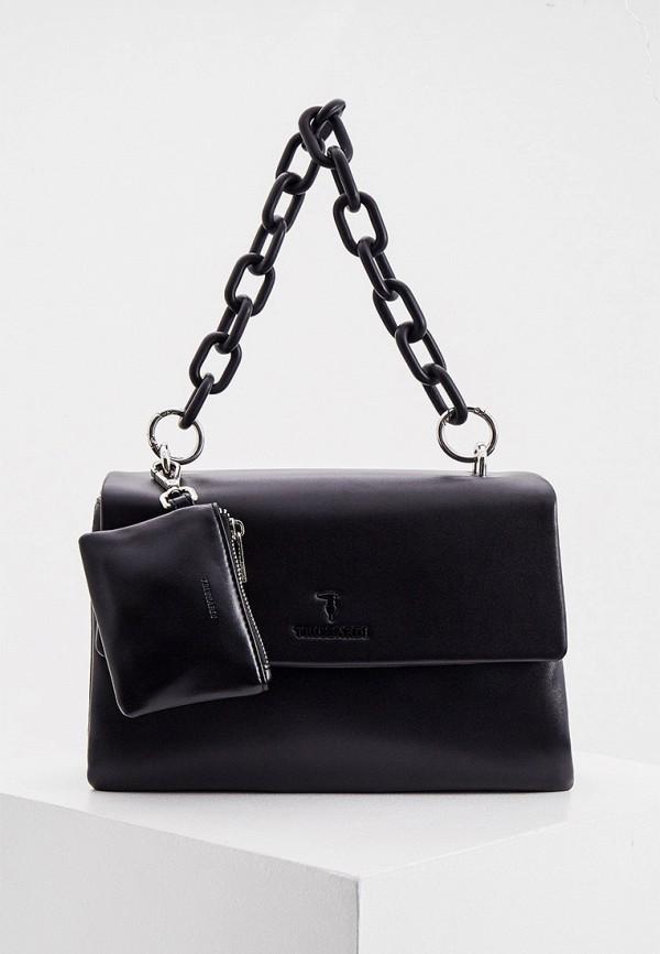 женский кошелёк с ручками trussardi, черный