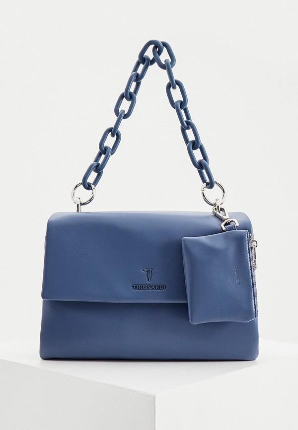 женский кошелёк с ручками trussardi, синий