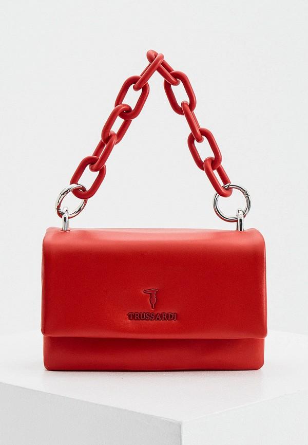 женская сумка с ручками trussardi, красная
