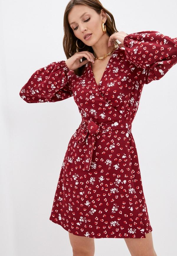 женское платье с запахом trendyangel, бордовое