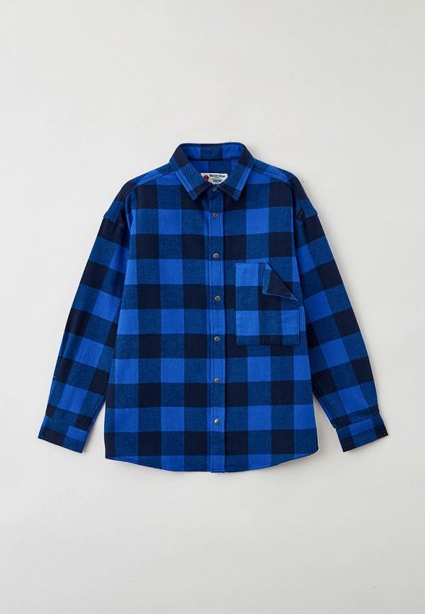 рубашка button blue для мальчика, синяя
