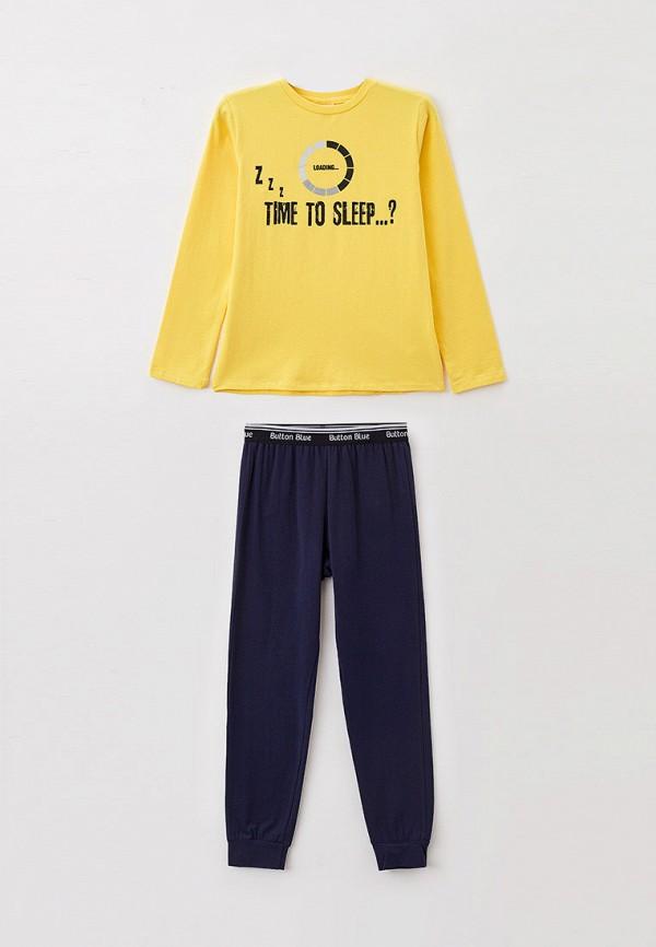 пижама button blue для мальчика, разноцветная