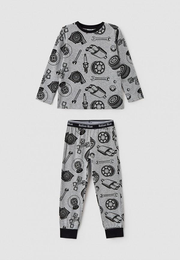 пижама button blue для мальчика, серая