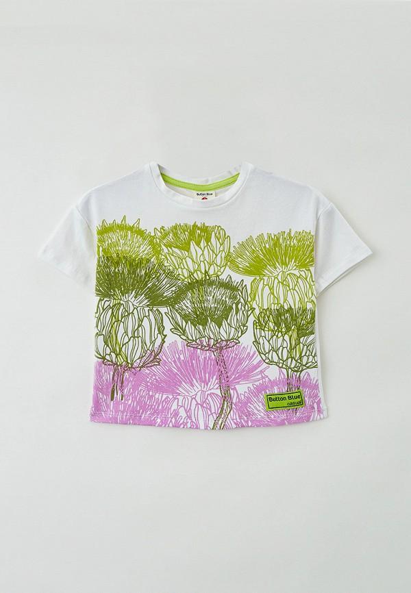 футболка с коротким рукавом button blue для девочки, разноцветная
