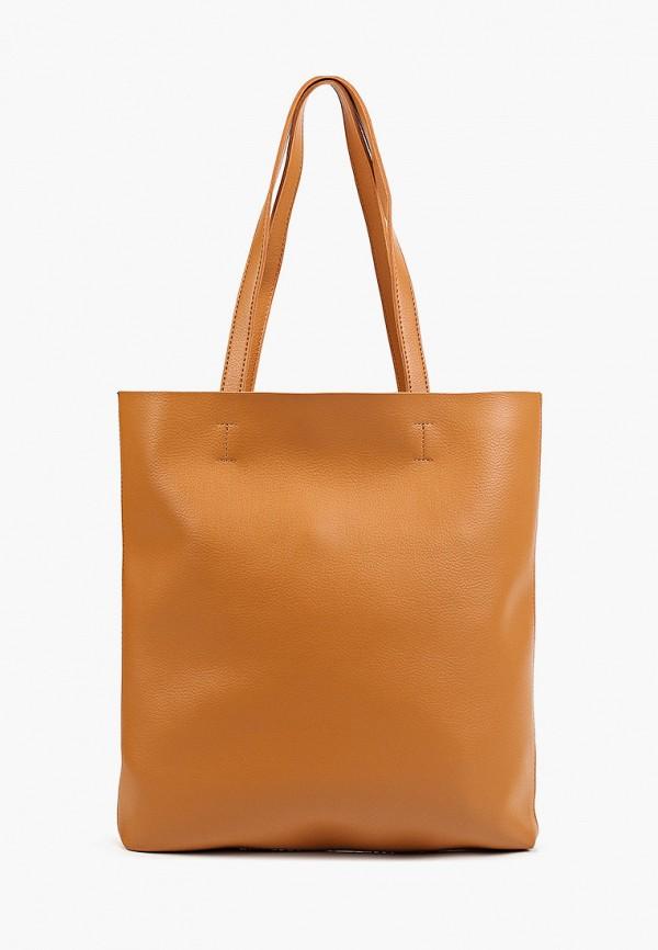 женская сумка с ручками baggini, коричневая