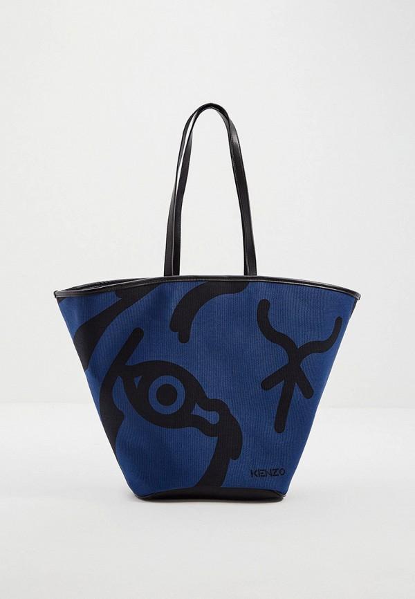 женская сумка-шоперы kenzo, синяя