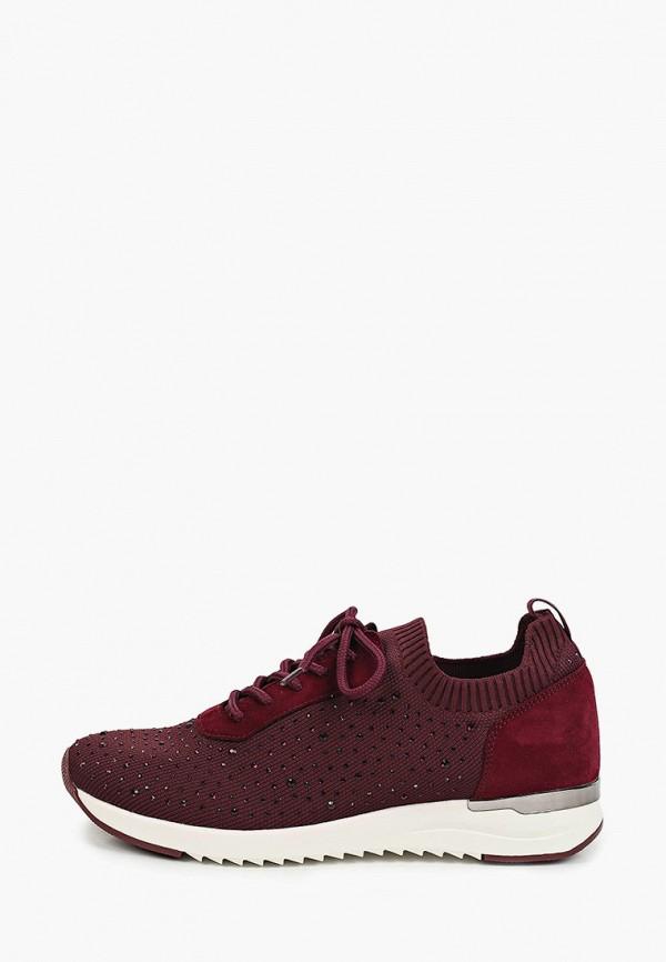 женские низкие кроссовки caprice, бордовые