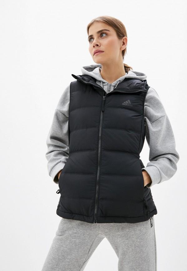 женский утепленные жилет adidas, черный