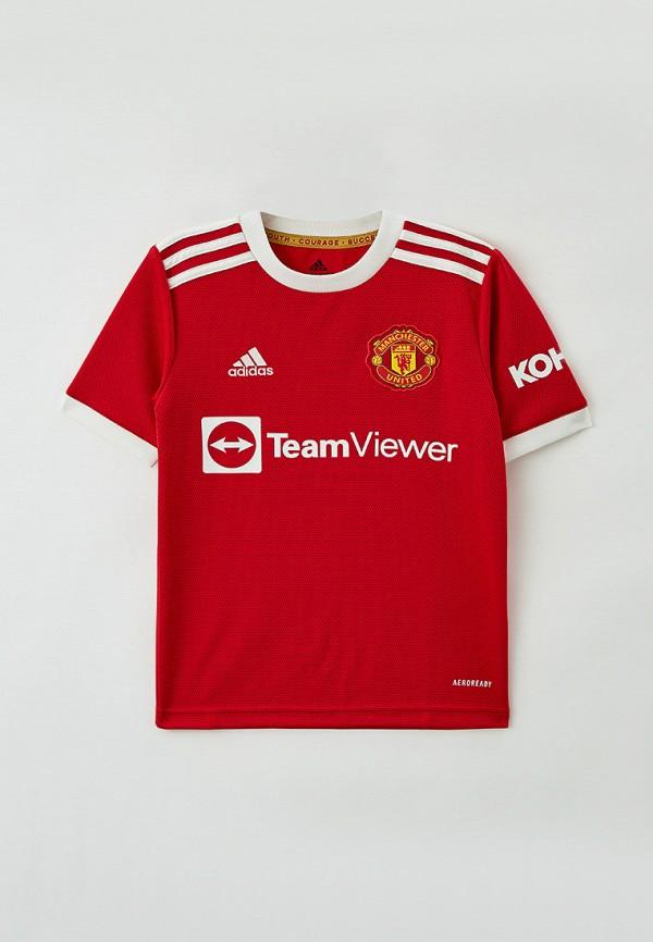 футболка с коротким рукавом adidas для мальчика, красная