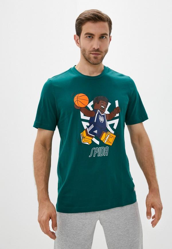мужская футболка с коротким рукавом adidas, зеленая