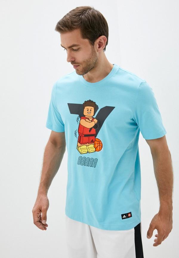 мужская футболка с коротким рукавом adidas, голубая