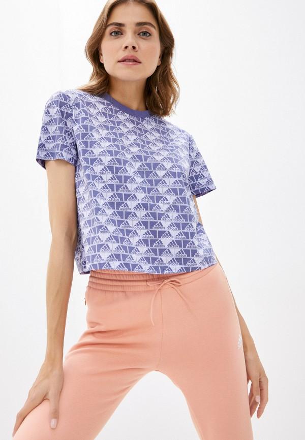 женская спортивные футболка adidas, фиолетовая