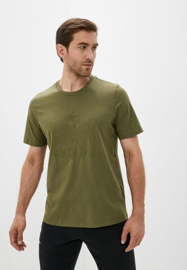 мужская футболка с коротким рукавом adidas, хаки