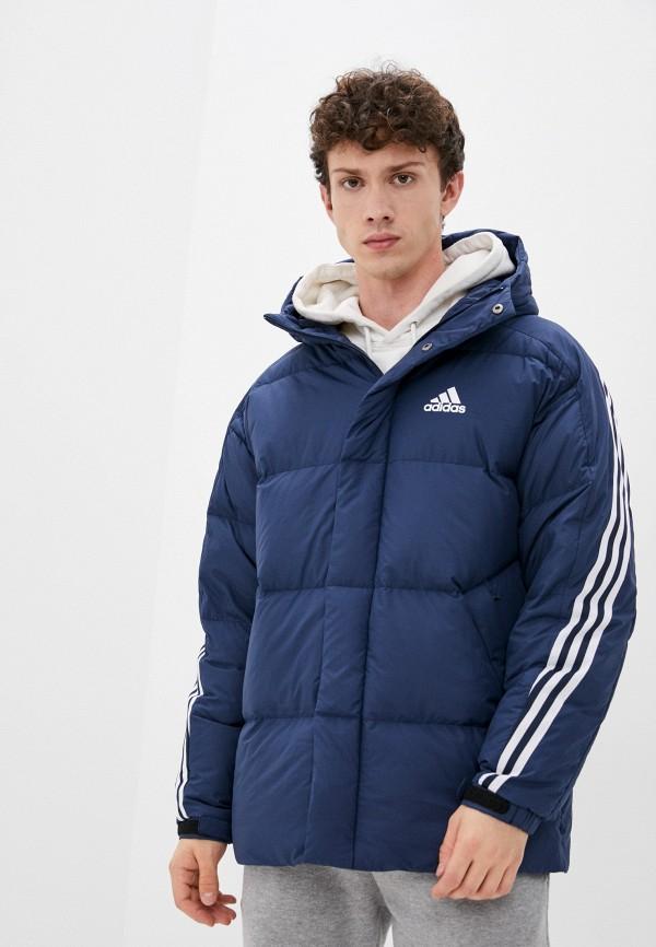 мужской пуховик adidas, синий