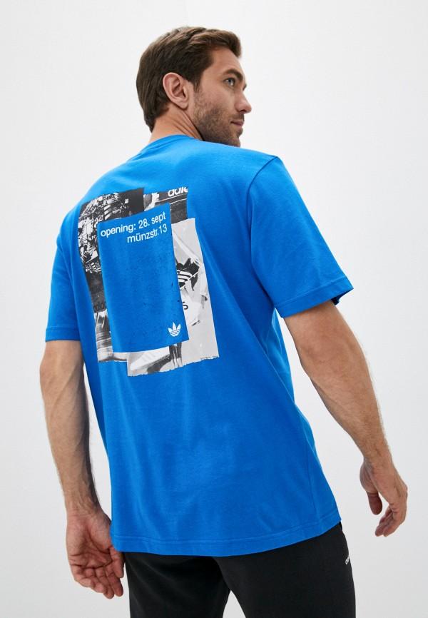 мужская футболка с коротким рукавом adidas, синяя