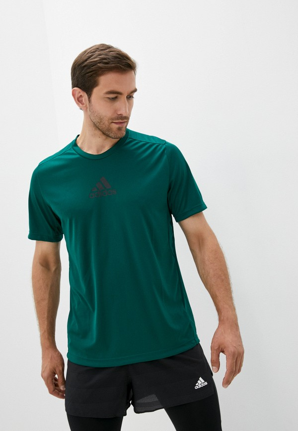 мужская спортивные футболка adidas, зеленая