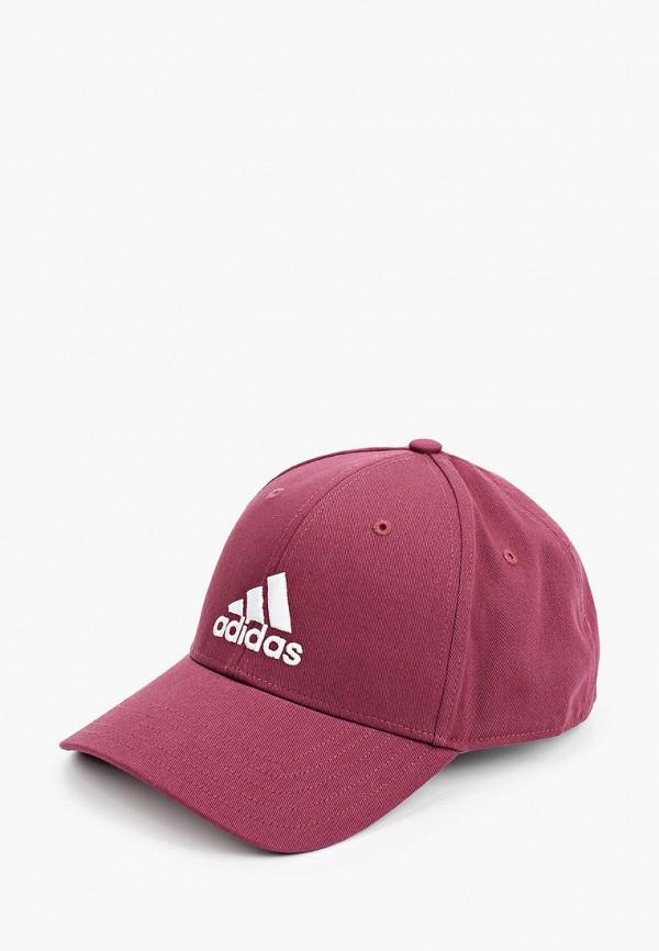 женская бейсболка adidas, бордовая