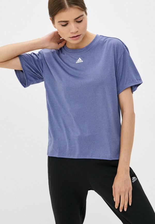 женская спортивные футболка adidas, синяя